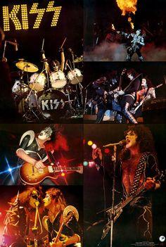 KISS Band 1977 24 x 36 Japan Collage Poster Reprint - Rock Concert Memorabilia