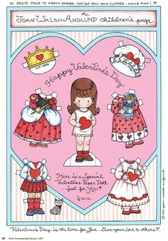 Joan Walsh Valentine Printable Paper Dolls~Cute as a Card or Full Size Paper Doll. Vintage Valentine Cards, My Funny Valentine, Valentine Crafts, Vintage Cards, Printable Valentine, Free Printable, Joan Walsh, Paper Art, Paper Crafts