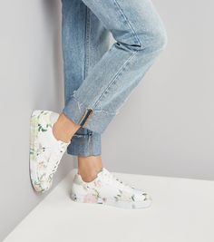 d333941606b White Floral Print Lace Up Trainers