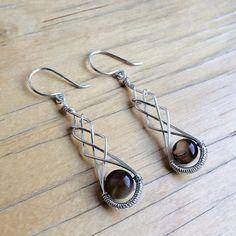 Wire Wrapped Earrings Black Agate Earrings Silver by Kodji on Etsy, $19.00