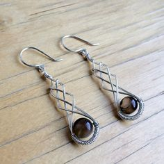 Wire Wrapped Earrings Black Agate Earrings Silver by Kodji on Etsy, $19.00