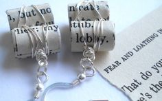 Bookworm Earrings Jewelry Made From Old Books by TheUnwrittenWord