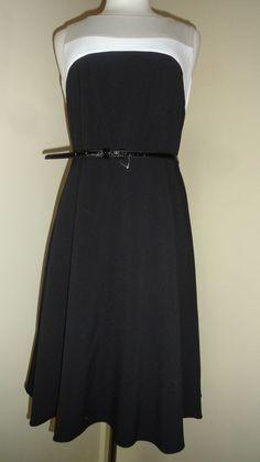 CALVIN KLEIN BLACK WHITE TAUPE CAREER COCKTAIL DRESS- SZ- 6 MSRP $118 #CalvinKlein #Sheath #Cocktail