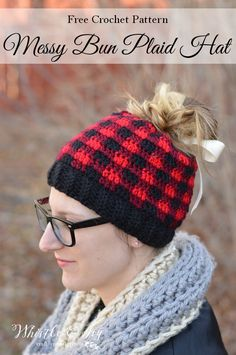 FREE Crochet Pattern: Messy But Plaid Hat | Keep warm and stay fabulous with this cute crochet messy bun hat in a trendy buffalo plaid!