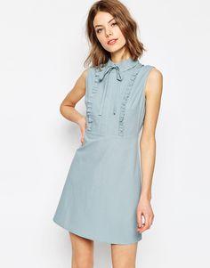 Image 1 ofASOS Frill Front Mini Shirt Dress