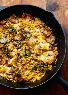 Mexican Chicken with Corn, Chilies and Cheese. Super easy to make and super delicious. Serve with rice or wrapped in a tortilla.