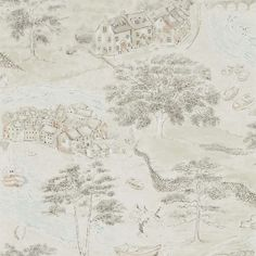 Sea Houses by Sanderson - Green / Sand - Wallpaper : Wallpaper Direct Wallpaper Direct, Wallpaper Online, Print Wallpaper, Home Wallpaper, Fabric Wallpaper, Wallpaper Roll, Application Pattern, Painted Rug