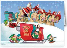 Firefighter Sleigh Christmas Card  Cute firefighter theme Christmas card.  Elves ready the fire engine theme sleigh and the reindeer put on their fire helmets.