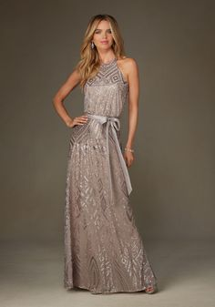 Patterned Sequin on Mesh Bridesmaid Dress with Slit in the Back Designed by Madeline Gardner. Colors available: Blush, Champagne, Taupe and Navy.