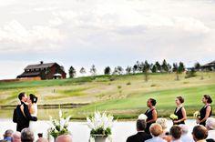 Outdoor wedding ceremony on the farm