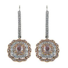 Natural Pink and Colorless Diamond Earrings