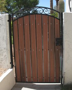 Decorative Arched Gate With Privacy Panels Wrought Iron Garden Gates Metal Wood