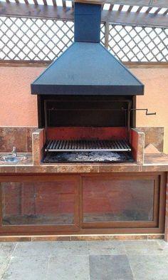 EL QUINCHO - PARRILLAS Parilla Grill, Parrilla Exterior, Built In Braai, Stone Bbq, Outdoor Barbeque, Fire Pit Bbq, Diy Grill, Outside Bars, Bbq Kitchen