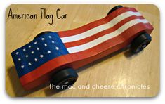 American Flag Pinewood Derby Car