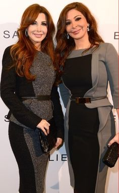 Elissa and Nancy Ajram in Elie Saab fashion show during Paris Fashion Week