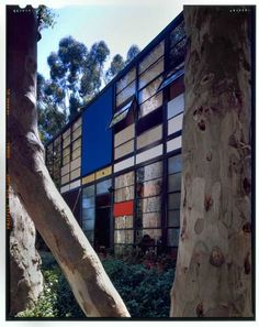The front side of the Eames House Case Study #8 designed by archictects Charles and Ray Eames in Pacific Palisades.