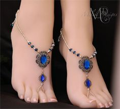 Blue Rhinestone Filigree Barefoot Sandals by MelekDesigns on Etsy