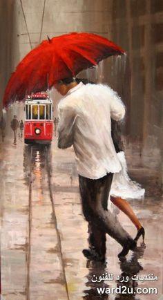 Umbrella Painting, Umbrella Art, Walking In The Rain, Singing In The Rain, Modern Art Paintings, Art Plastique, Istanbul, Cute Art, Watercolor Paintings