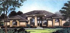 Florida Style House Plans - 2287 Square Foot Home , 1 Story, 4 Bedroom and 2 Bath, 2 Garage Stalls by Monster House Plans - Plan 96-117