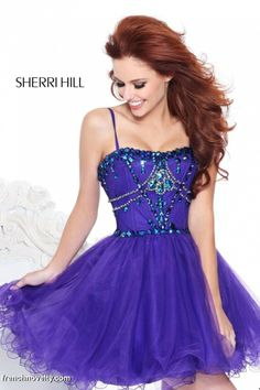 Sherri Hill 21001 Short Prom Party Dress with Spaghetti Straps - http://promdresses.frenchnovelty.com/p/SH21001/Sherri-Hill-Spaghetti-Straps.html