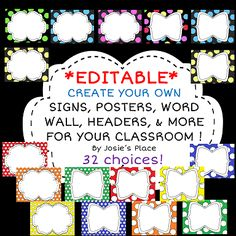 Create Your Own Posters Signs Word Wall Library Cards