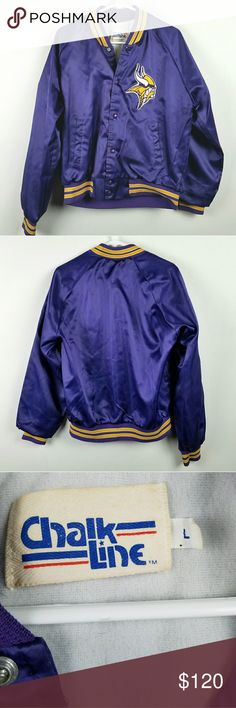 "Vintage Minnesota Vikings Chalk Line Jacket Vintage Chalk Line Purple Satin Jacket Minnesota Vikings  Skol Good vintage condition Big logo on chest Snaps  Approximate measurements flat  Chest 24"" Length 27"" Vintage Jackets & Coats"
