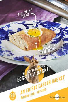 The Easter Bunny's Eggs in a Basket Quick And Easy Breakfast, Breakfast Time, Breakfast Recipes, 7 Course Meal, Easter Bunny Eggs, Easter Food, Eggs In A Basket, Incredible Eggs, Colored Eggs
