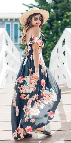 07517e4766c2 Cute pregnancy outfits ·  summer  outfits Round Hat + Black Floral Maxi  Dress    Shop This Outfit