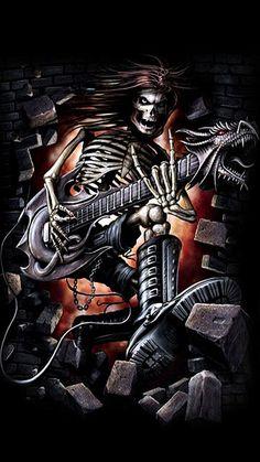 the dead sing Gothic Fantasy Art, Fantasy Artwork, Skeleton Pics, Brutal Legend, Celtic Dragon Tattoos, Leo Tattoo Designs, Grim Reaper Art, Rockabilly Art, Rock Band Posters