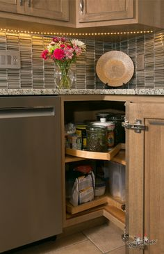 The Lazy Susan. Thankfully Susan is versatile and has come a long way! For those large dark cabinets youll want a Susan that tucks in or pulls out of those hard to reachor see spaces inside the cabinet. Cabinet Refacing, Cabinet Drawers, Storage Cabinets, Dark Cabinets, Kitchen Cabinets, Kitchen Magic, Kitchen Storage Solutions, Neat And Tidy, Cabinet Styles