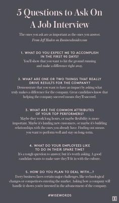 Five Questions to Ask On A Job Interview by faye