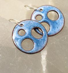 Outer Space Blue Enamel Earrings by ijewelry on Etsy