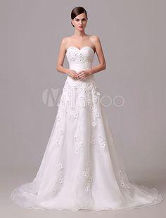 Mariage Ivoire robe bustier fleurs brodé Tulle robe de mariée
