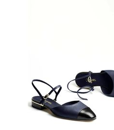 Chanel Lambskin Navy Blue and Black Flats