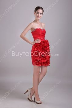 Modest Sweetheart Neckline Puffy Mini Length Red Evening Dresses With Floral at buytopdress.com#DesignerDress #CheapDress  #MaxiDresses  #EveningDresses #PlusSizeMaxiDresses  #Fashion  #PromDress