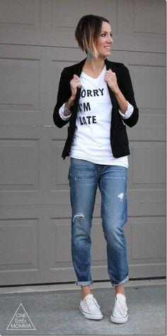 Graphic tee, blazer, boyfriend jeans and Converse