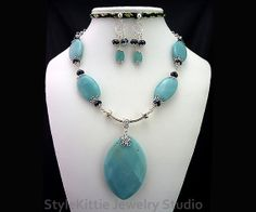 Amazonite and Faceted Black Crystal Sterling Silver Filigree Statement Necklace and Dangle Earring Set on Etsy, $76.00