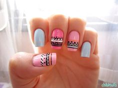 ~Colourful tribal print~                                  Etude House in 05                                       Essie in Lovie Dovie                                    Etude House in BL501                                Dolly Wink in Salmon Pink                           OPI in Parlez-vous OPI                                Etude House in PP901                                Etude House in WH706                               Etude House in WH702