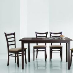 @Overstock - Subtle angles and taupe hues lend sophistication to this contemporary dining set. A table and four chairs are included in this furniture set.http://www.overstock.com/Home-Garden/Keitaro-Dark-Brown-5-piece-Modern-Dining-Set/5583744/product.html?CID=214117 $427.99