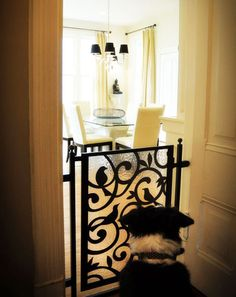 Looking for an attractive alternative to standard pet gates? Here are five clever and creative pet gates that are designed to work with your home& decor. Diy Dog Gate, Pet Gate, Baby Gates, Dog Gates, Dog Rooms, Diy Stuffed Animals, Dog Houses, Home Projects, Sweet Home