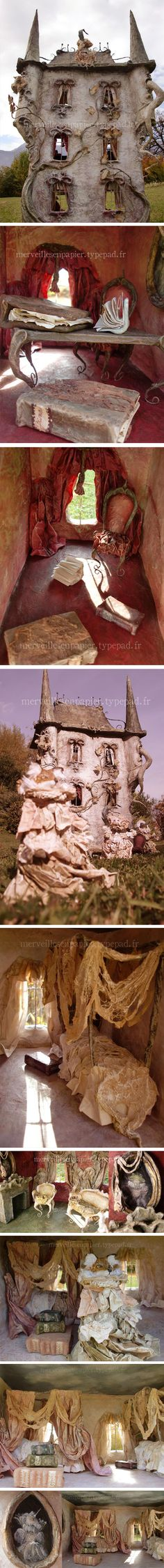 """Laititia Mieral Paper Mache Dollhouse """"Welcome to the haunted or enchanted doll house, This is an """"art toy"""" for children or adults every piece of furniture can be manipulated ,the characters as well , nothing is glued."""" All content copyright © Laititia Mieral See more of this amazing dollhouse: merveillesenpapie..."""
