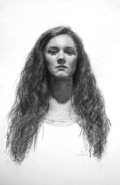 Self Portrait by Jenna Carrington, charcoal, Hein Academy of Art, SLC, UT
