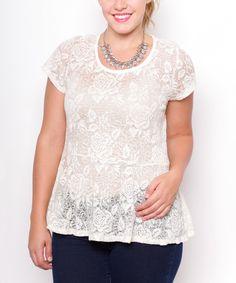 White Lace Peplum Top - Plus by Curvy Lily #zulily #zulilyfinds