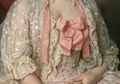 Detail of the delicate lace, silk bow and bodice of Madame de Saint-Maurice's draperies, 1776 by Joseph Siffred Duplessis