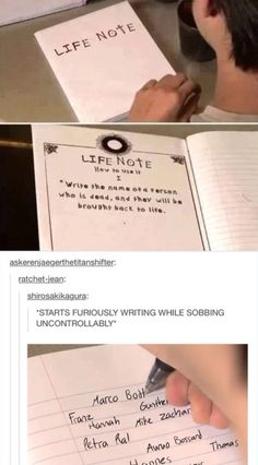 Life note . SNK x Death Note