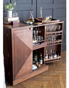 I like the idea of a bar that can totally close up so little one don't get into it. Maxine Bar Cabinet I Crate and Barrel Bar Interior, Interior Decorating, Diy Bar, Bar Sala, Bar Unit, Small Sideboard, Drinks Cabinet, Cabinets For Sale, Homemade Home Decor