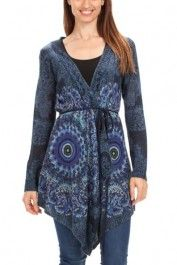 Desigual women's Marioti cardigan. Featuring Desigual's best-selling motifs, you can fasten it at the waist using the belt