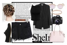 """""""SheIn Denim Shorts"""" by juultje-1177 ❤ liked on Polyvore featuring Helmut Lang, Le Specs, Miss Selfridge, Eos, Cartier and Kate Spade"""
