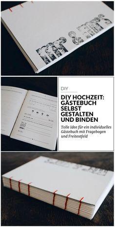 Anleitung für ein selbst gebundenes Gästebuch zur Hochzeit mit Fragebogen zum Ausfüllen und ausreichend Platz für persönliche Botschaften.