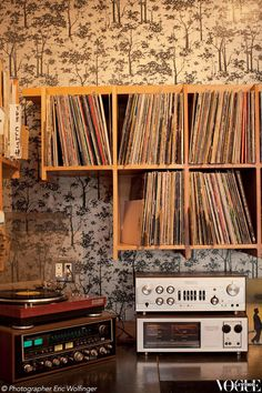 SanFranciscosuburb The Mission is the city's latest neighbourhood to capture the zeitgeist. Pictured here is the turntable and vinyl collection at local cafe, Fourbarrel.   Photograph by Eric Wolfinger.